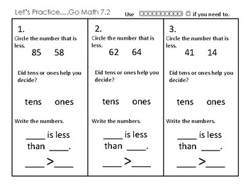 1st Grade Go Math Ch. 7 Review Sheets and Game