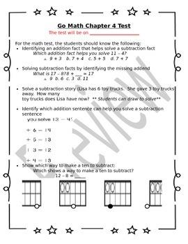 1st Grade Go Math Chapter 4 Study Sheet for Parents