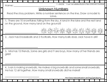 1st Grade Go Math Chapter 5- Addition and Subtraction Relationships Resources