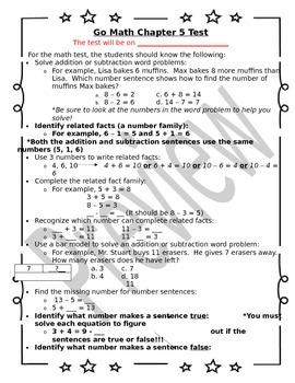 1st Grade Go Math Chapter 5 Study Sheet for Parents