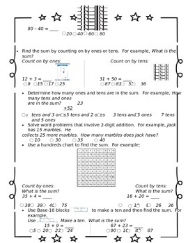 1st Grade Go Math Chapter 8 Study Sheet for Parents