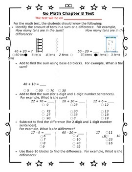 image relating to 1st Grade Assessment Test Printable called 1st Quality Shift Math Chapter 8 Analysis Sheet for Dad and mom