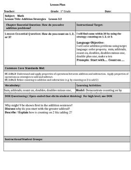1st Grade Go Math Unit 3 Lesson Plans