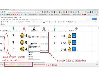 1st Grade Google Sheets Math Goal Tracker