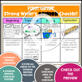 1st Grade Opinion, Narrative, & Informational Writing Rubric/Posters