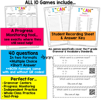 1st Grade Grammar Games | 1st Grade Grammar Review BUNDLE