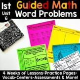 1st Grade Guided Math -Unit 6 Word Problems