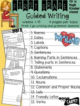 1st Grade Guided Writing Weeks 1-15