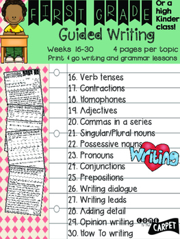 1st Grade Guided Writing Weeks 16-30