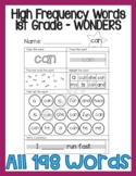 90 High Frequency Word Worksheets - 1st Grade Wonders Curriculum