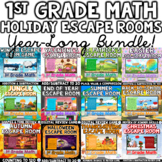 1st Grade HOLIDAY Math Digital Escape Room Games GROWING BUNDLE