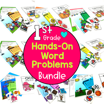 1st Grade Hands-On Word Problems Bundle: Kits 1-10