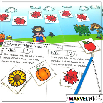 1st Grade Hands-On Word Problems Kit 5: Fall Problems