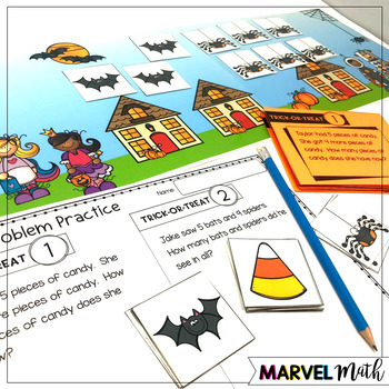 1st Grade Hands-On Word Problems Kit 6: Halloween Problems