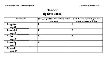 "1st Grade Harcourt Trophies Theme 6-""Baboon"" Scavenger Hunt"
