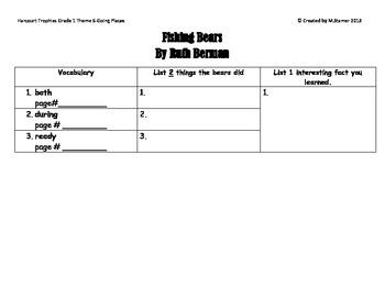 "1st Grade Harcourt Trophies Theme 6-""Fishing Bears"" Scaven"