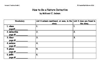 """1st Grade Harcourt Trophies Theme 6-""""Nature Detective"""" Scavenger Hunt"""