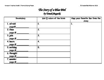 1st Grade Harcourt Trophies Theme 6-Story of a Blue Bird Scavenger Hunt