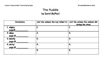 "1st Grade Harcourt Trophies Theme 6-""The Puddle"" Scavenger Hunt"