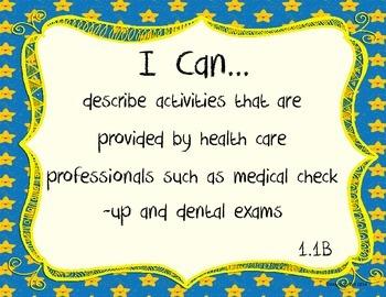 1st Grade Health TEKS I Can Statements