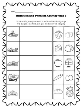 1st Grade Health - Unit 3: Nutrition and Physical Activity