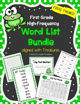 1st Grade High Frequency Word List BUNDLE (aligned with TREASURES) Frog Themed