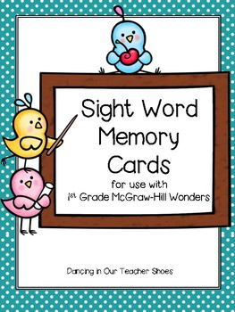 1st Grade High-Frequency Word Memory Cards for McGraw-Hill Wonders