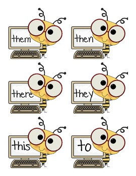 1st Grade High Frequency Words Bee Themed