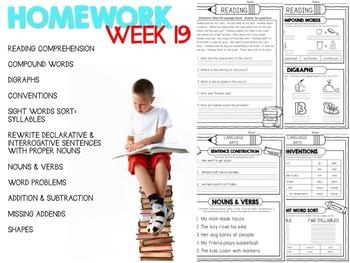 1st Grade Homework (3rd 9 Weeks)