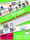 1st Grade Homework Bundle with QR Codes (184 homework bracelets!)