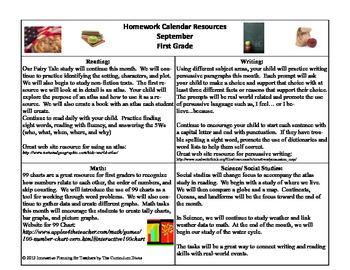 1st Grade Homework Calendar For the Year