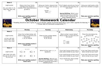 1st Grade Homework Calendar-Whole Year