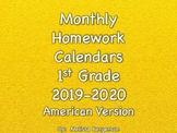 1st Grade Homework Calendars - 2019-2020 - American Version