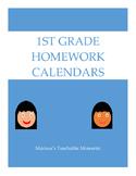 1st Grade Homework Calendars
