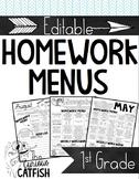 Homework Menus: First Grade