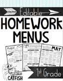 Homework Menus: First Grade