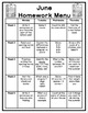 1st Grade Homework Menu for the entire year