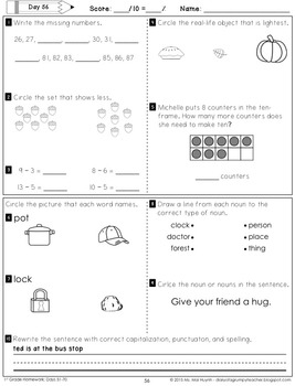 1st Grade Homework: November