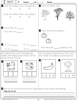 1st Grade Homework: October