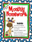 1st Grade Monthly Homework