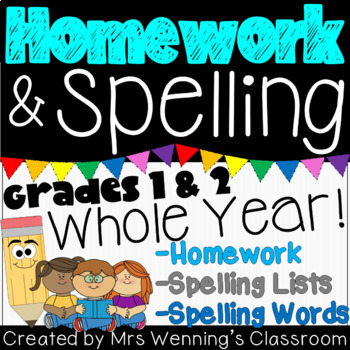 1st Grade Homework and Spelling Bundle! WHOLE YEAR!!!