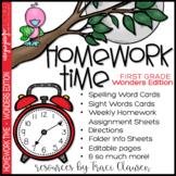 1st Grade Homework for the Year - Homework Time Wonders Edition