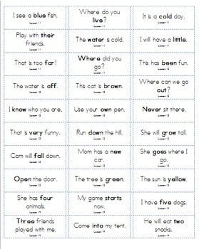 1st Grade Sight Word Sentences for Sticker Labels Aligned with HMH Journeys