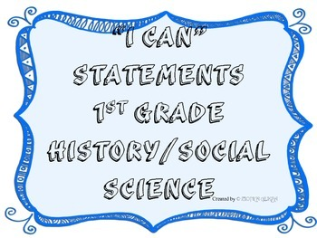 1st Grade I CAN Statement History/Social Science Blue Frame