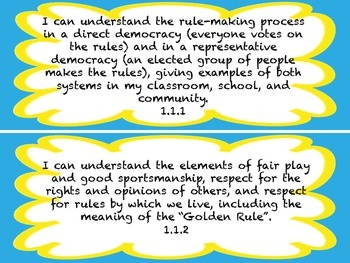 1st Grade I CAN Statement History/Social Science Blue Yellow Cloud