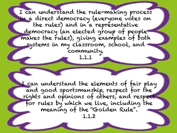 1st Grade I CAN Statement History/Social Science Green&Purple Frame