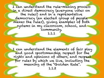 1st Grade I CAN Statement History/Social Science Orange&Green Frame