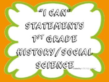 1st Grade I CAN Statement History/Social Science Orange&Gr