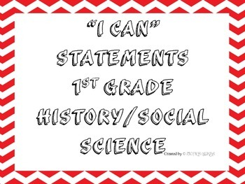 1st Grade I CAN Statement History/Social Science Red&White Frame