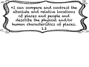 1st Grade I CAN Statement History/SocialScience Black&White Frame